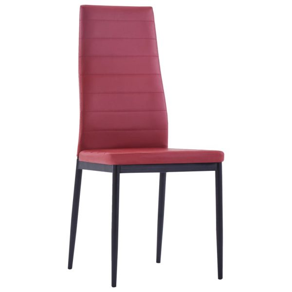 Five Piece Dining Set Wine Red 7
