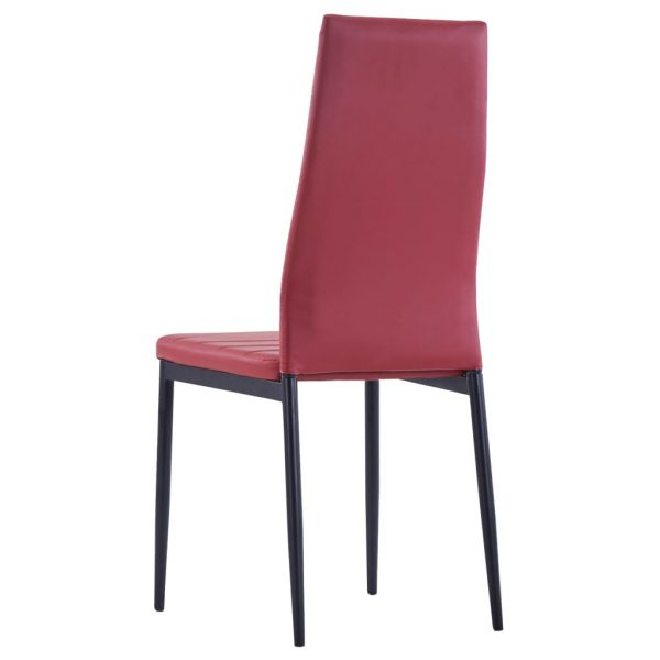 Five Piece Dining Set Wine Red 10