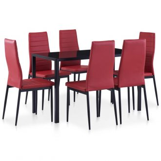 Seven Piece Dining Set Wine Red 1