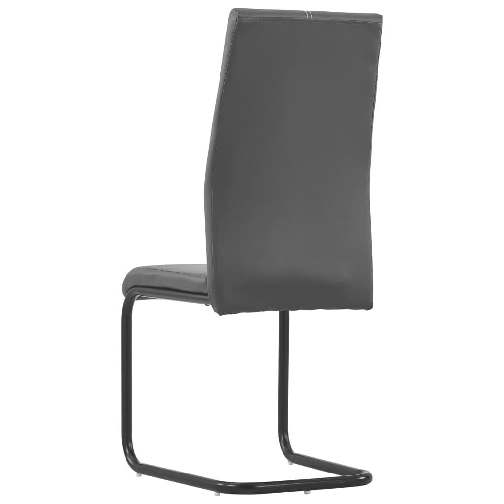 Dining Chairs 2 pcs Grey Faux Leather 5