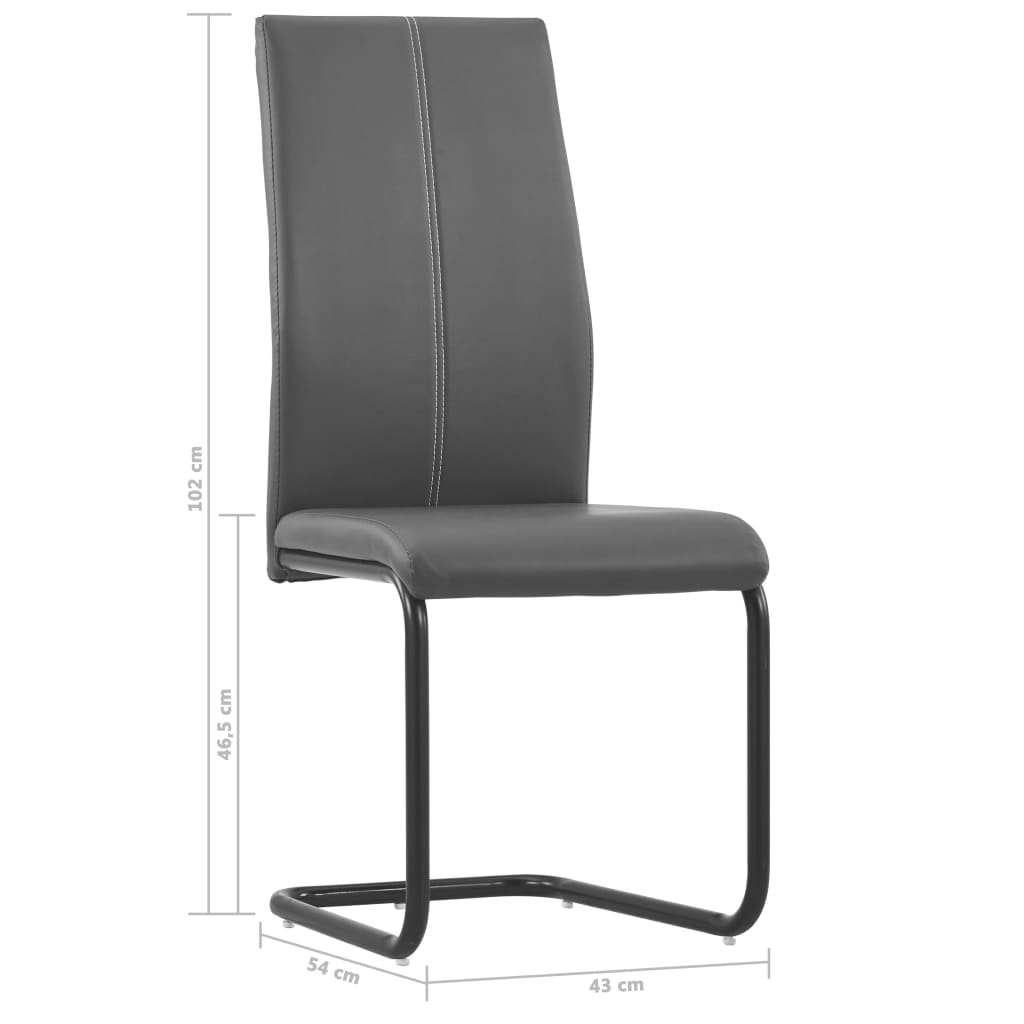 Dining Chairs 2 pcs Grey Faux Leather 8