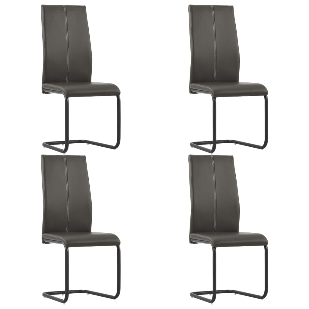 Dining Chairs 4 pcs Brown Faux Leather 1