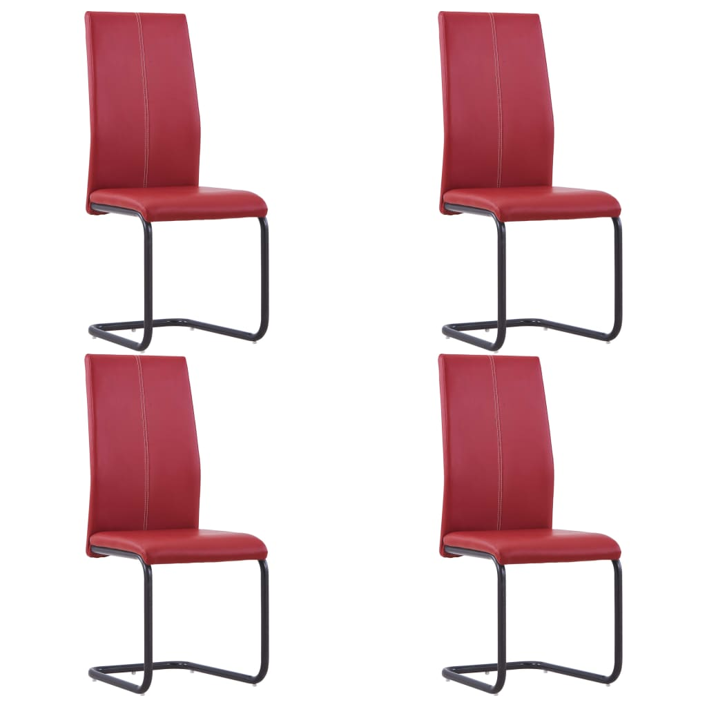 Dining Chairs 4 pcs Red Faux Leather 1