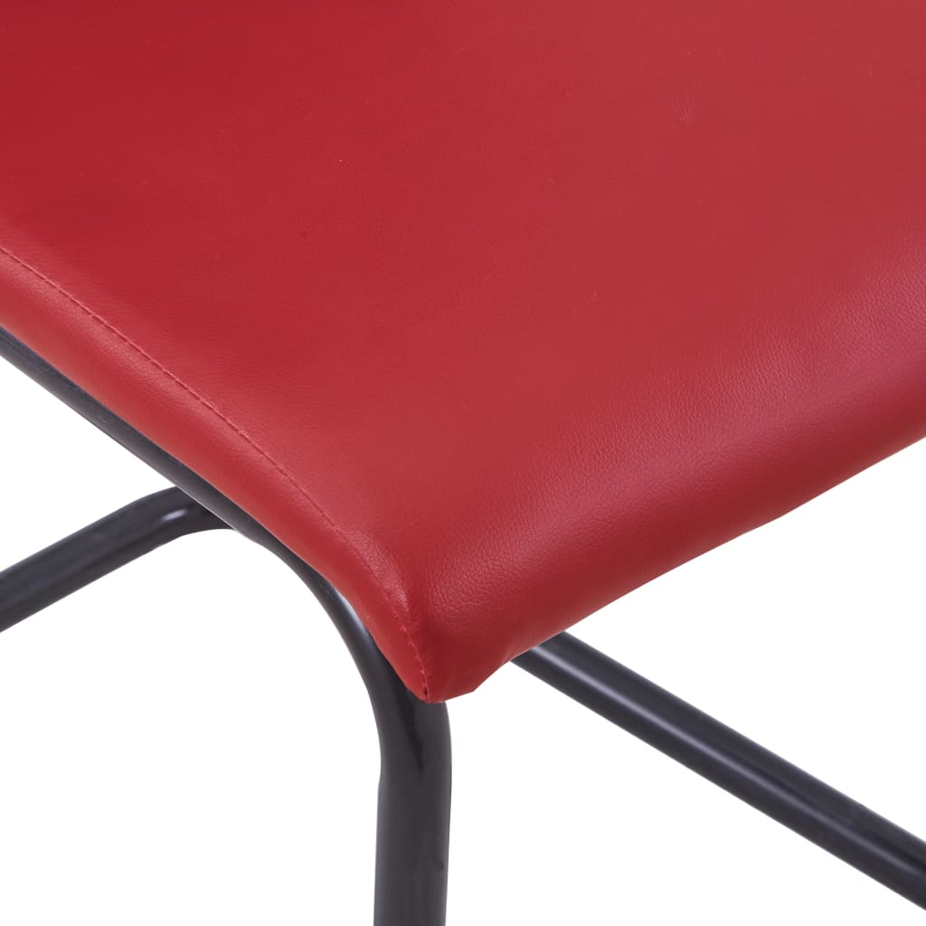 Dining Chairs 4 pcs Red Faux Leather 7