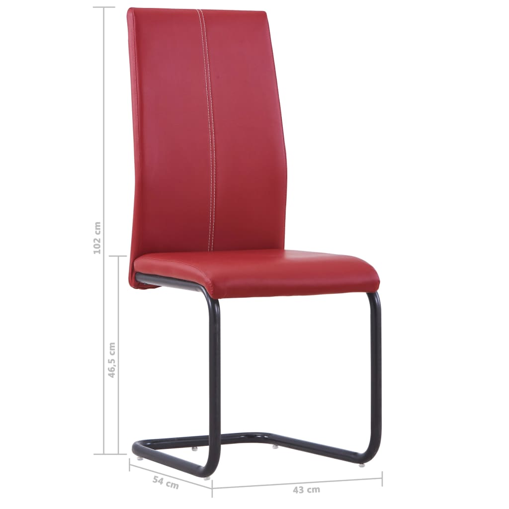 Dining Chairs 4 pcs Red Faux Leather 8