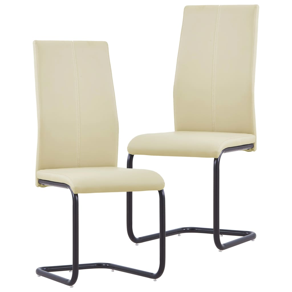 Dining Chairs 2 pcs Cappuccino Faux Leather 1