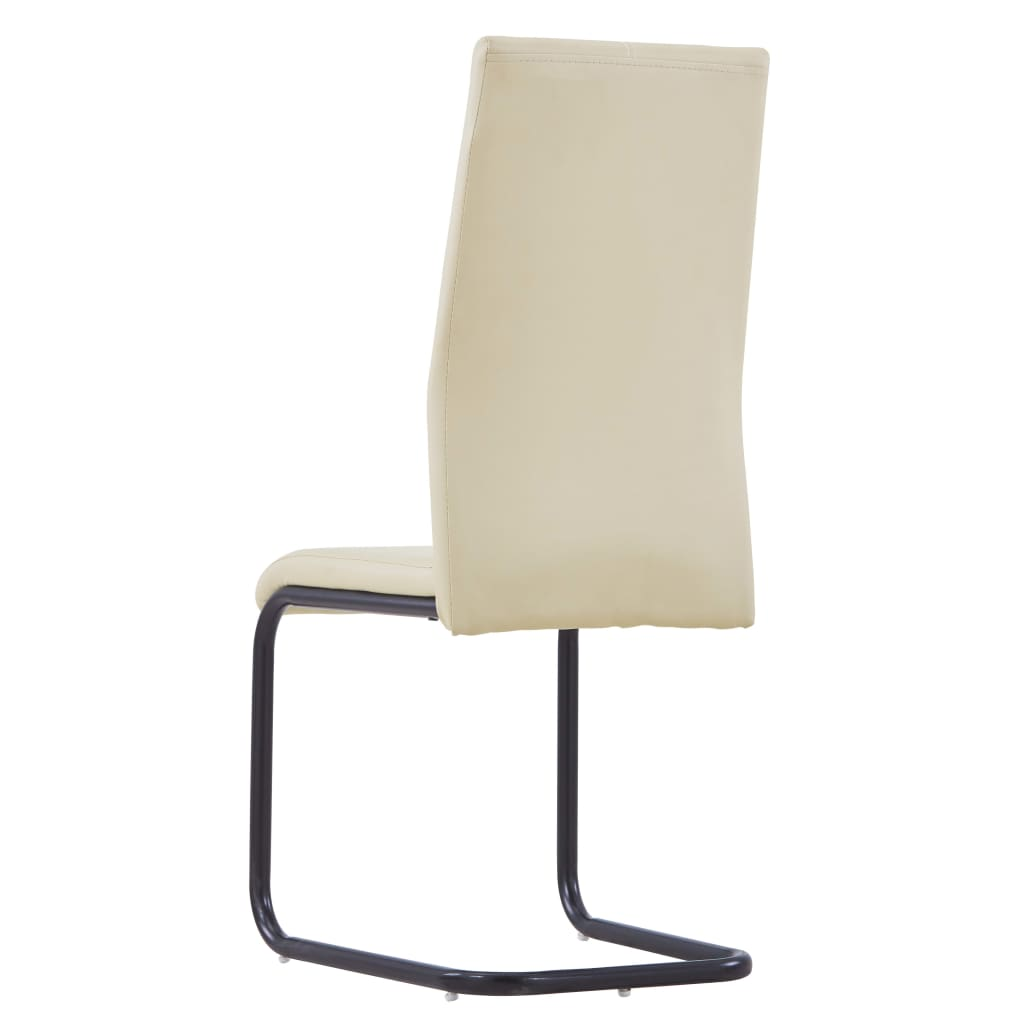Dining Chairs 2 pcs Cappuccino Faux Leather 5