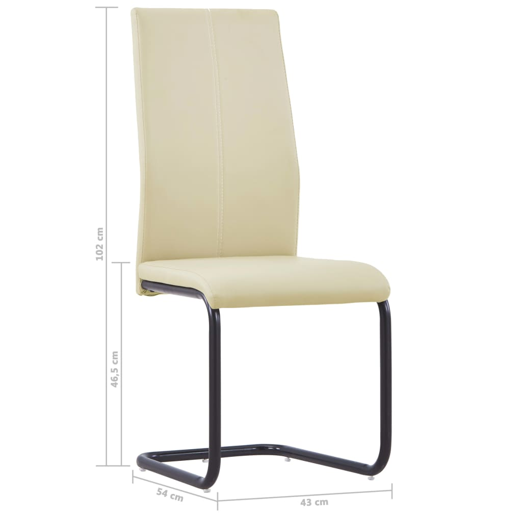 Dining Chairs 2 pcs Cappuccino Faux Leather 8