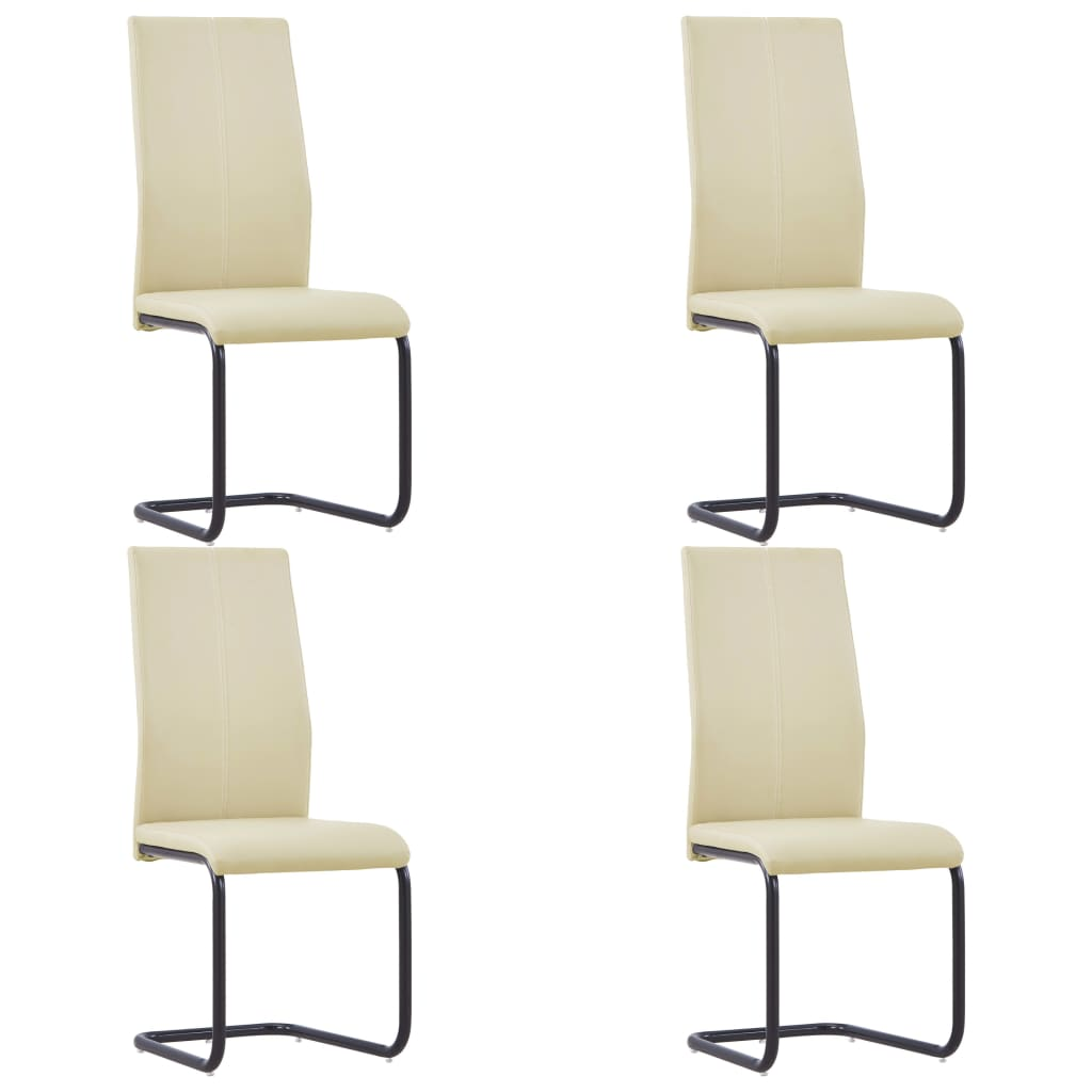 Dining Chairs 4 pcs Cappuccino Faux Leather