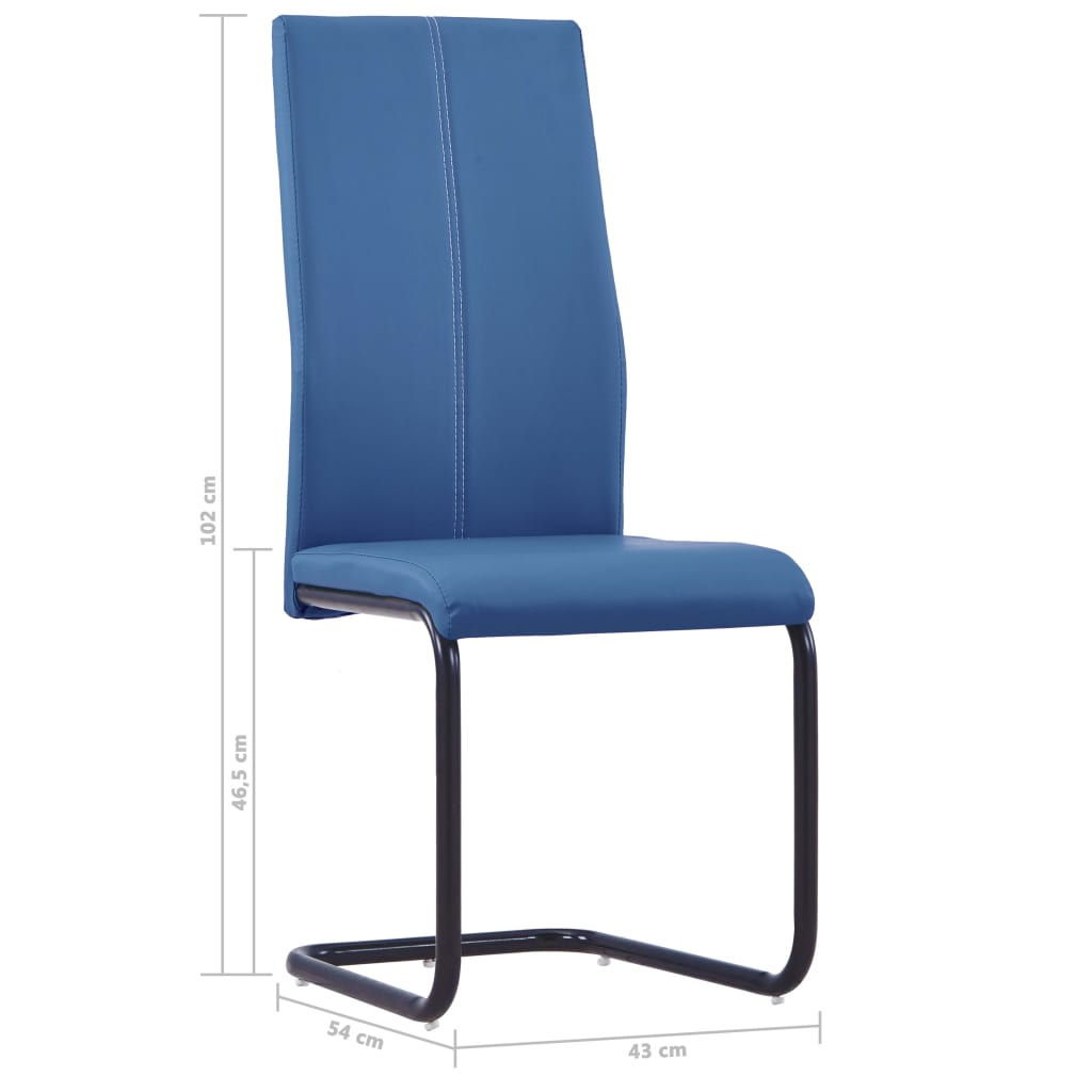 Dining Chairs 2 pcs Blue Faux Leather 8