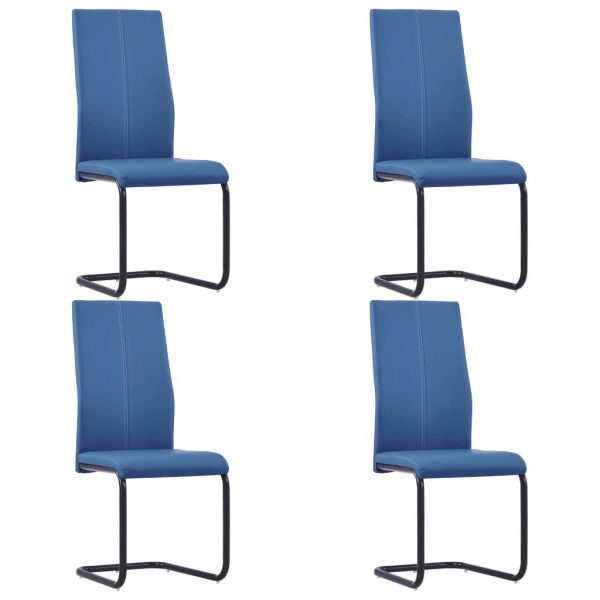 Dining Chairs 4 pcs Blue Faux Leather 1