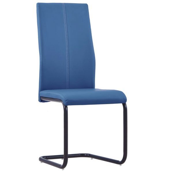 Dining Chairs 4 pcs Blue Faux Leather 2
