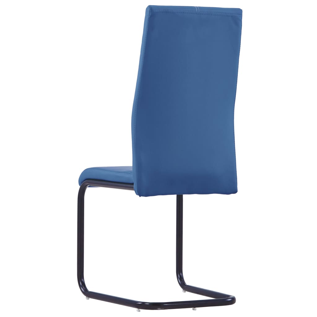 Dining Chairs 4 pcs Blue Faux Leather 5