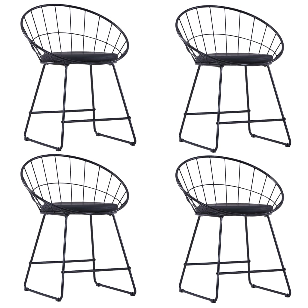 Dining Chairs with Faux Leather Seats 4 pcs Black Steel