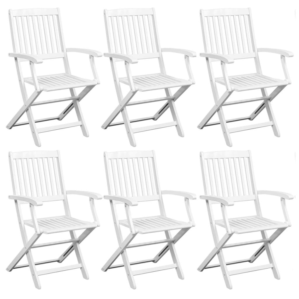 Dining Chairs 6 pcs White Solid Acacia Wood 1