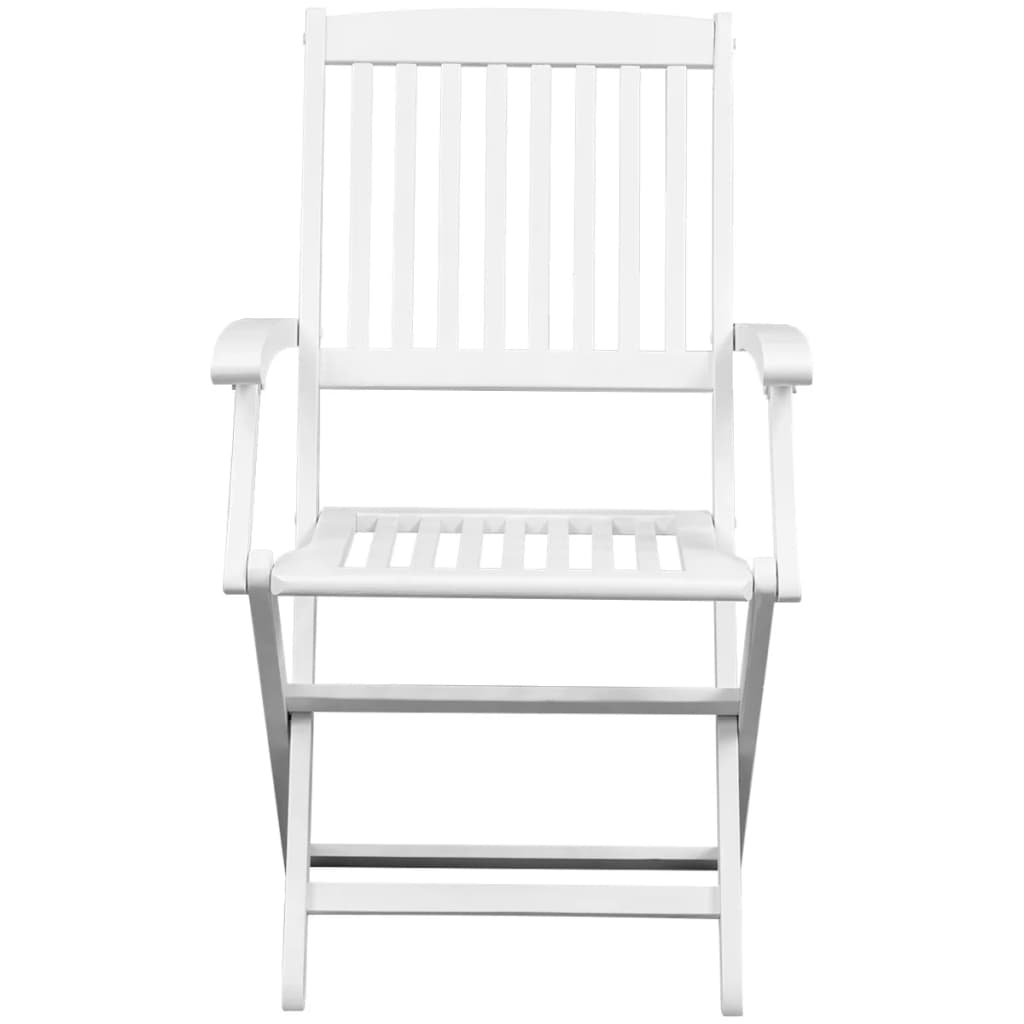 Dining Chairs 6 pcs White Solid Acacia Wood 2