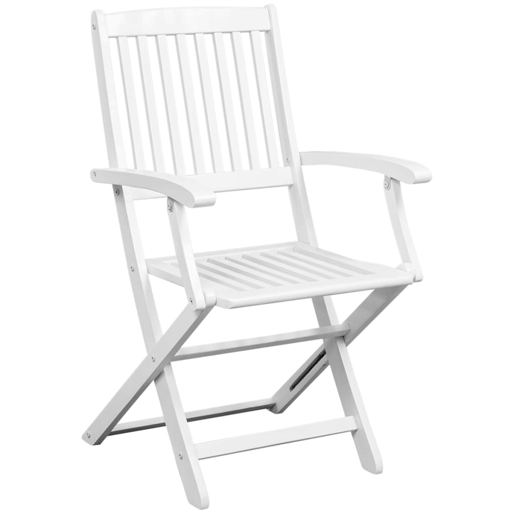 Dining Chairs 6 pcs White Solid Acacia Wood 3