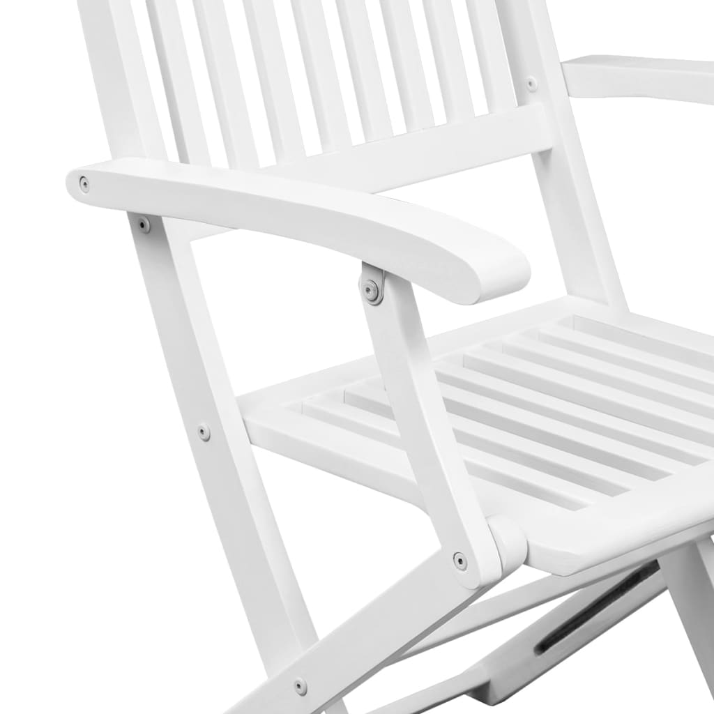 Dining Chairs 6 pcs White Solid Acacia Wood 4