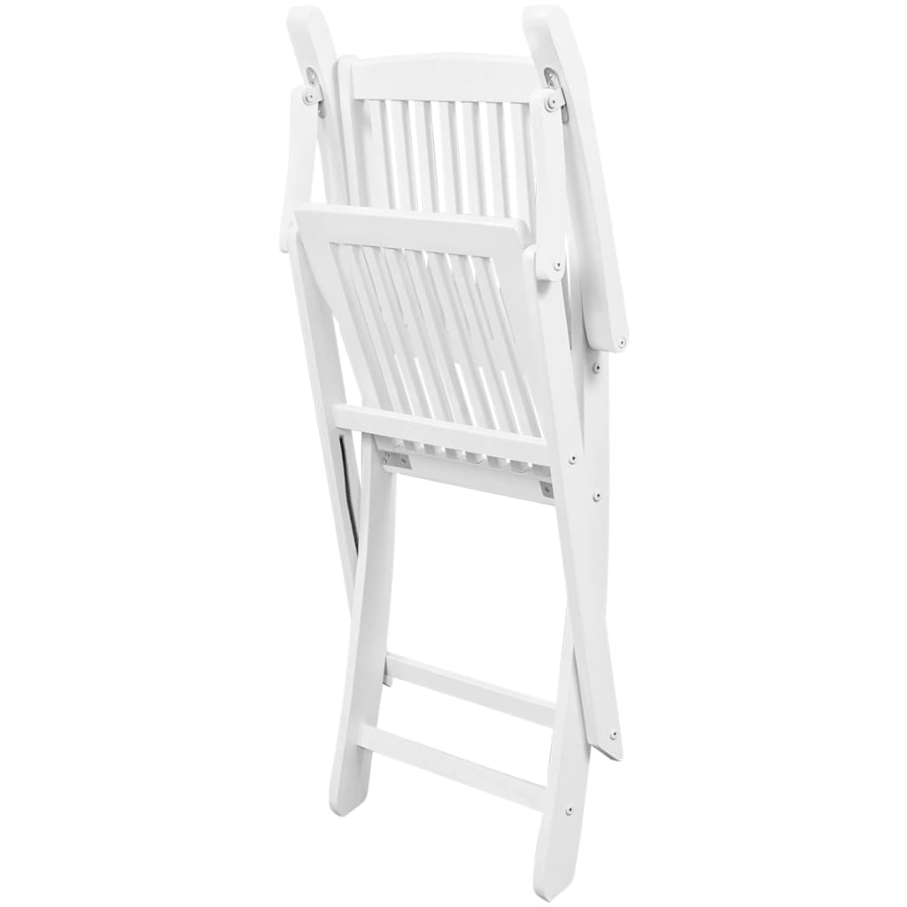Dining Chairs 6 pcs White Solid Acacia Wood 5
