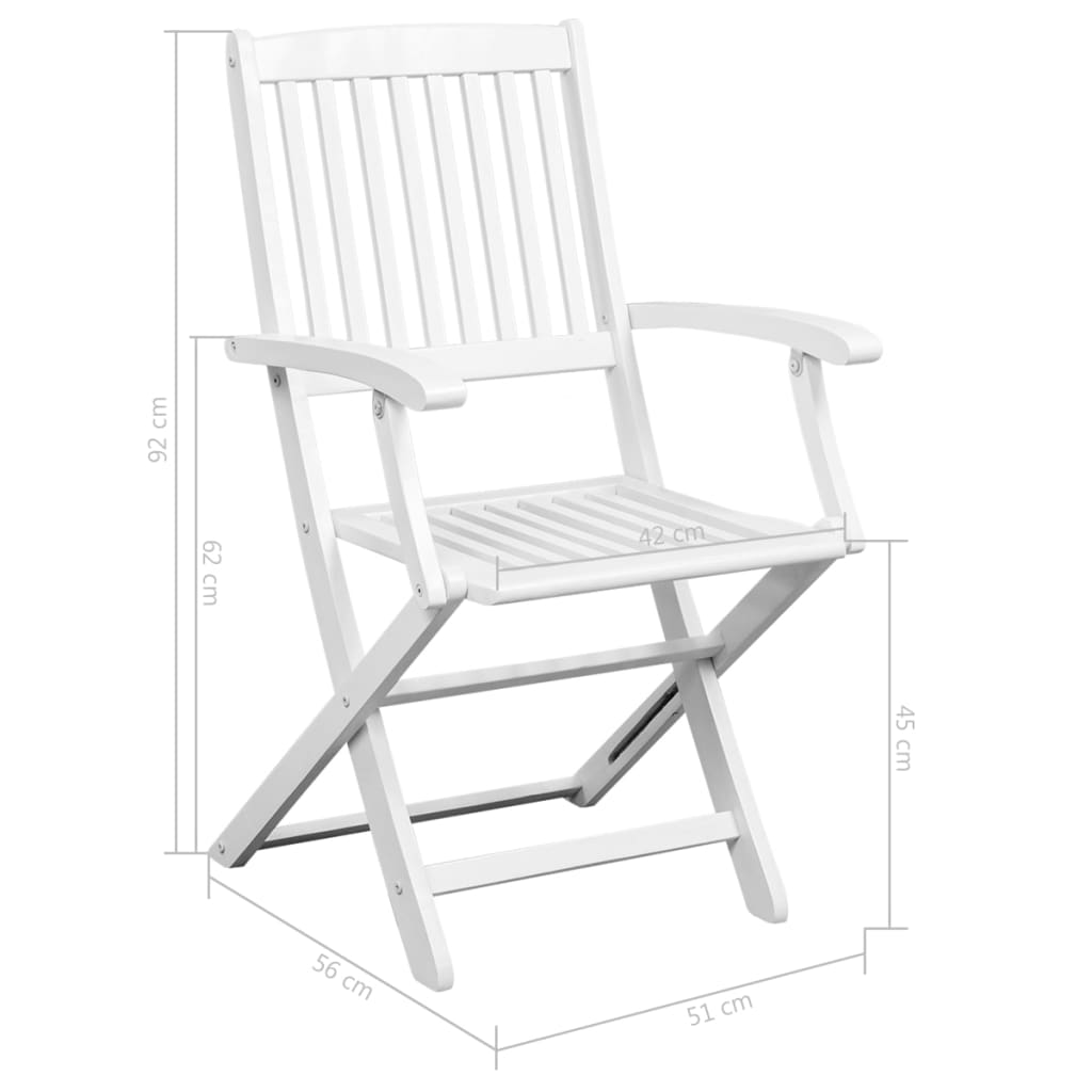 Dining Chairs 6 pcs White Solid Acacia Wood 6