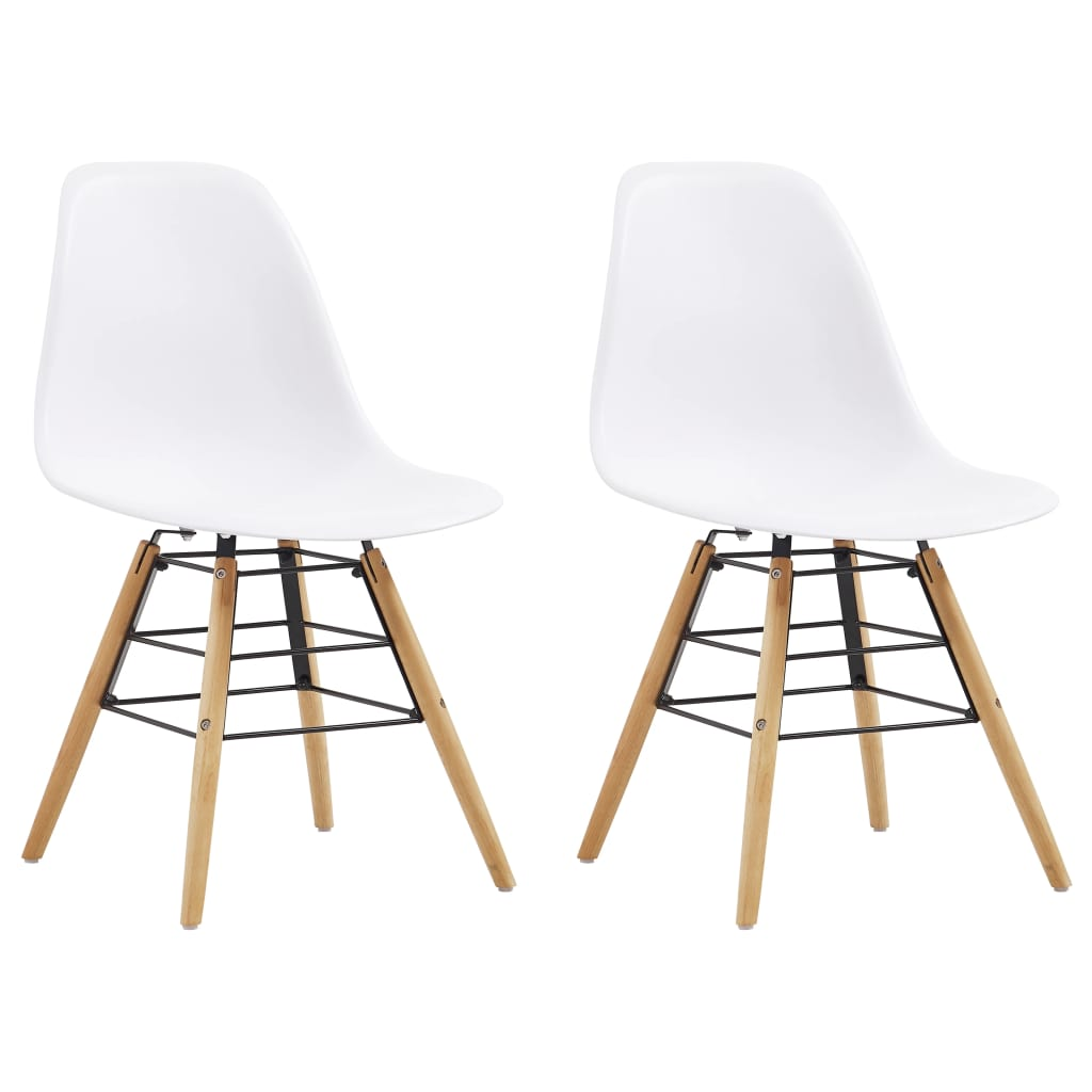 Dining Chairs 2 pcs White Plastic 1