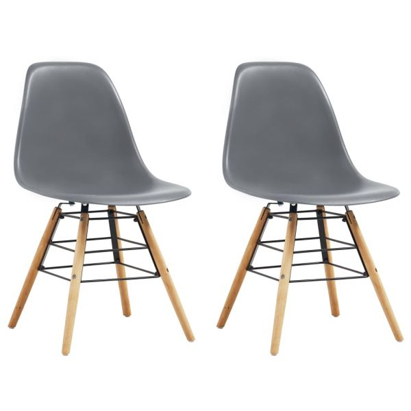 Dining Chairs 2 pcs Grey Plastic 1