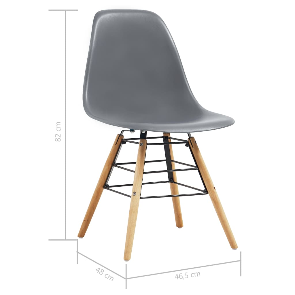 Dining Chairs 2 pcs Grey Plastic 7