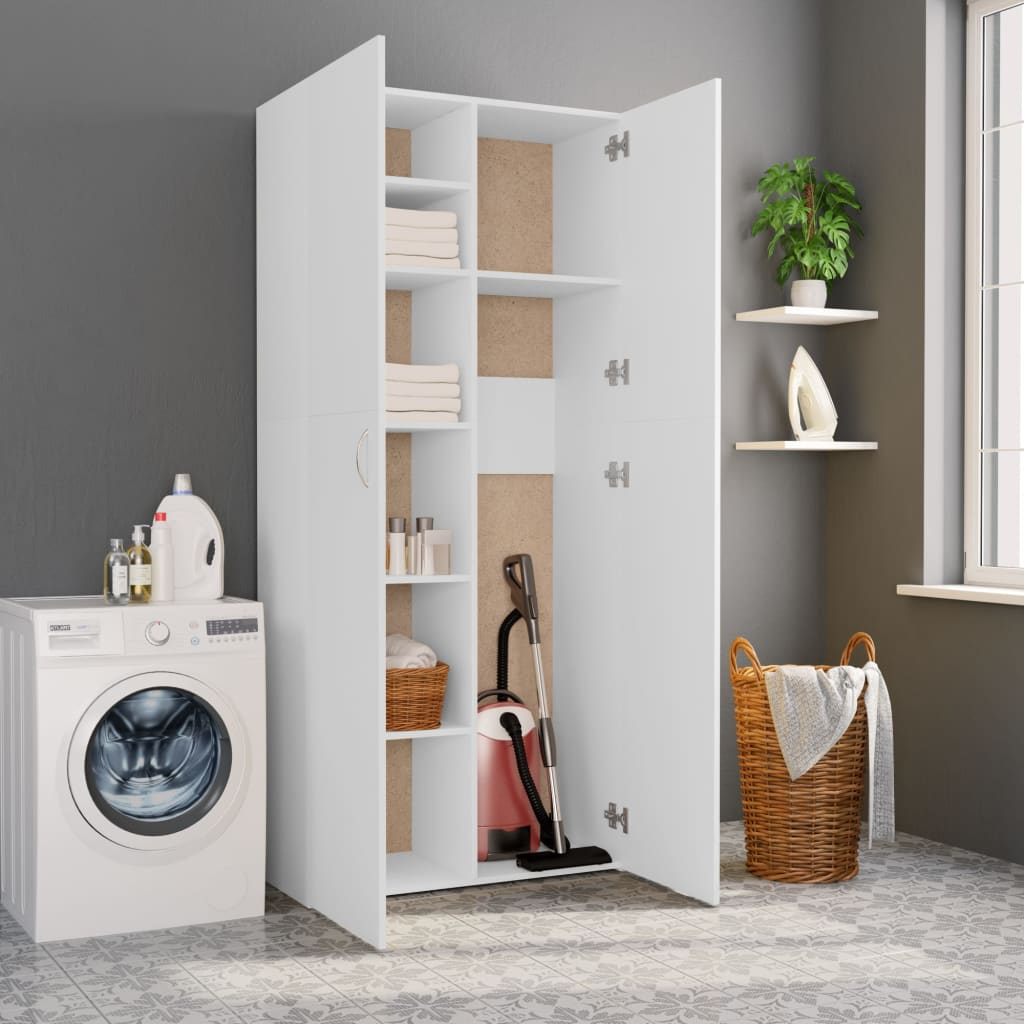 Storage Cabinet White 80x35.5x180 cm Chipboard