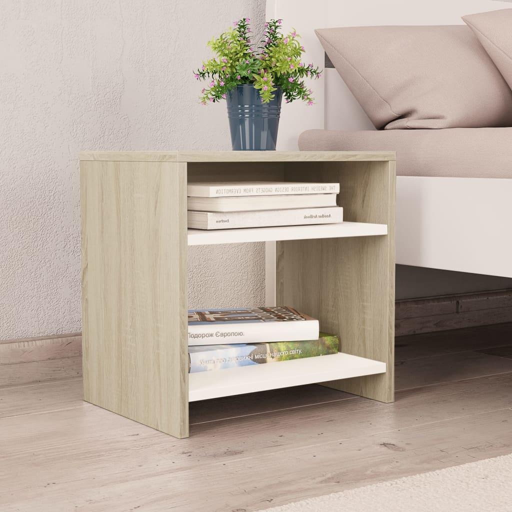 Bedside Cabinets 2 pcs White and Sonoma Oak 40x30x40 cm Chipboard
