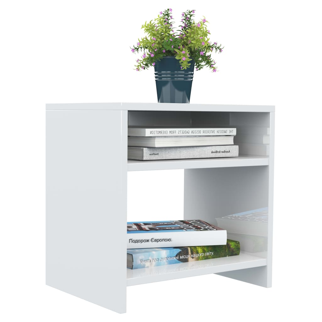 Bedside Cabinet High Gloss White 40x30x40 cm Chipboard 3