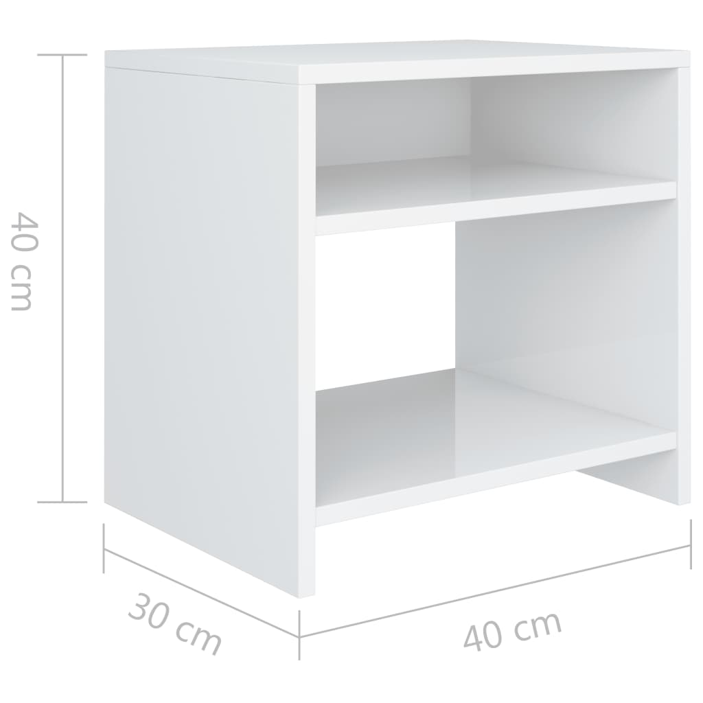 Bedside Cabinet High Gloss White 40x30x40 cm Chipboard 6