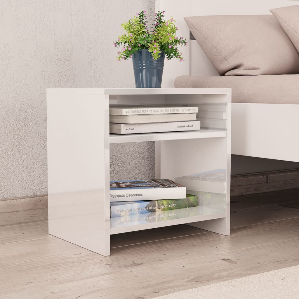 Bedside Cabinet High Gloss White 40x30x40 cm Chipboard 1