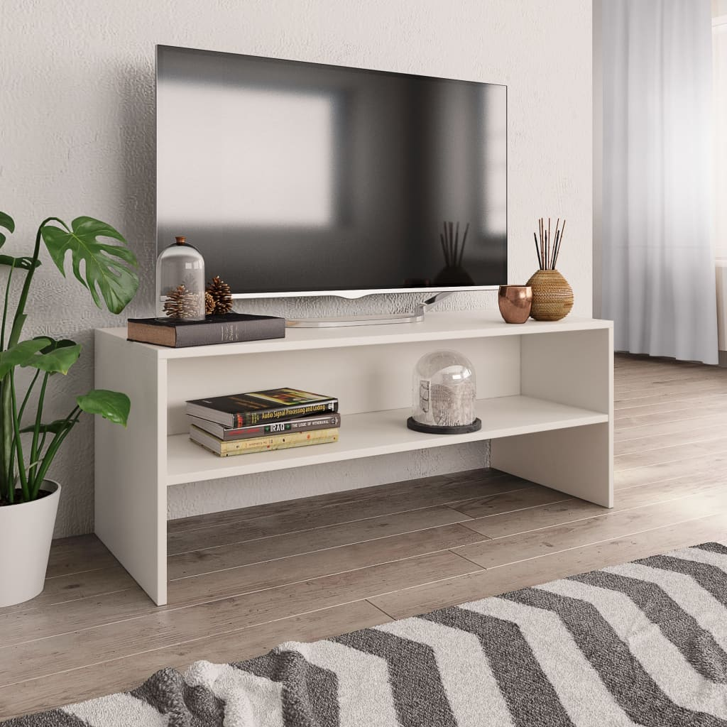 TV Cabinet White 100x40x40 cm Chipboard 1