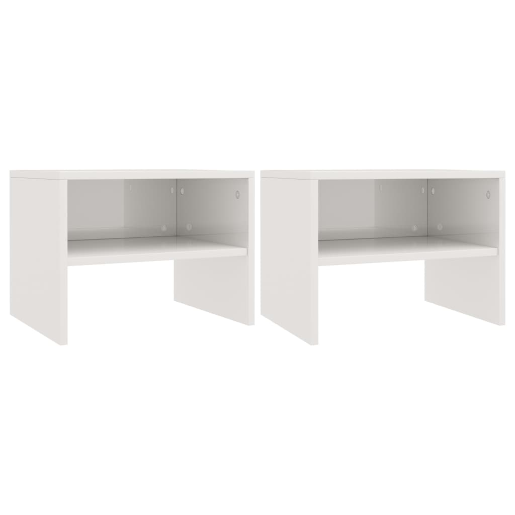 Bedside Cabinets 2 pcs High Gloss White 40x30x30 cm Chipboard 2