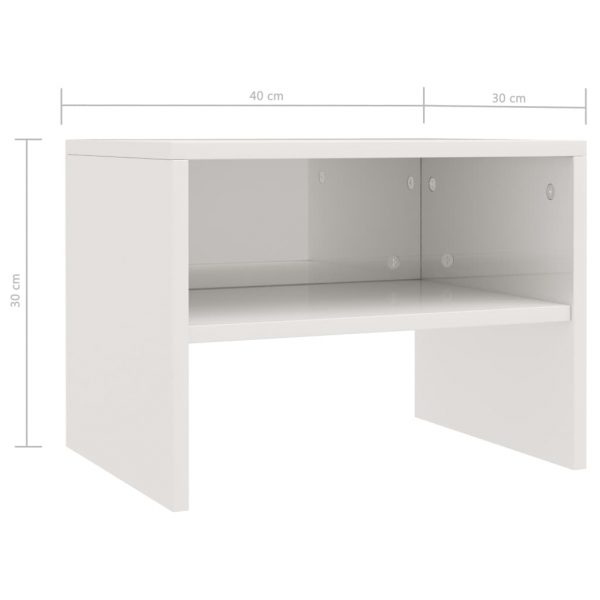Bedside Cabinets 2 pcs High Gloss White 40x30x30 cm Chipboard 7