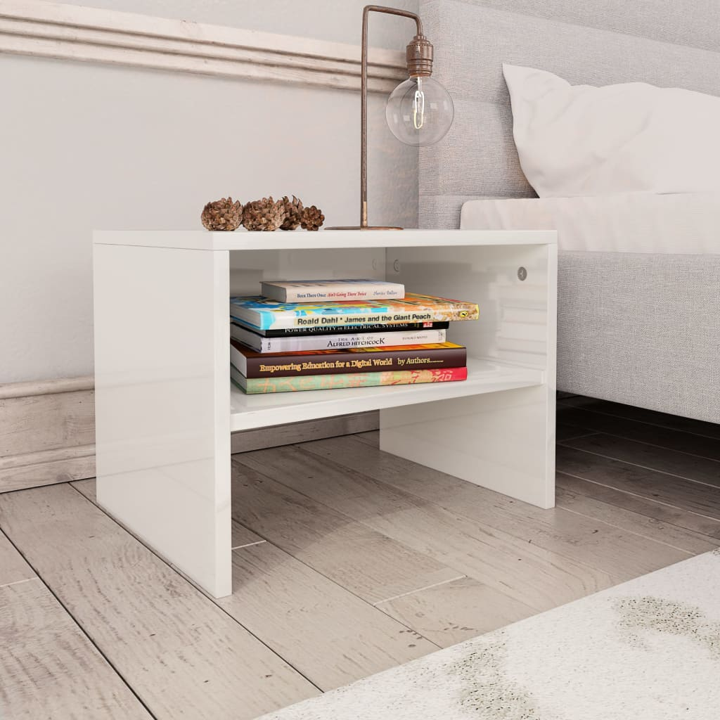 Bedside Cabinets 2 pcs High Gloss White 40x30x30 cm Chipboard 1