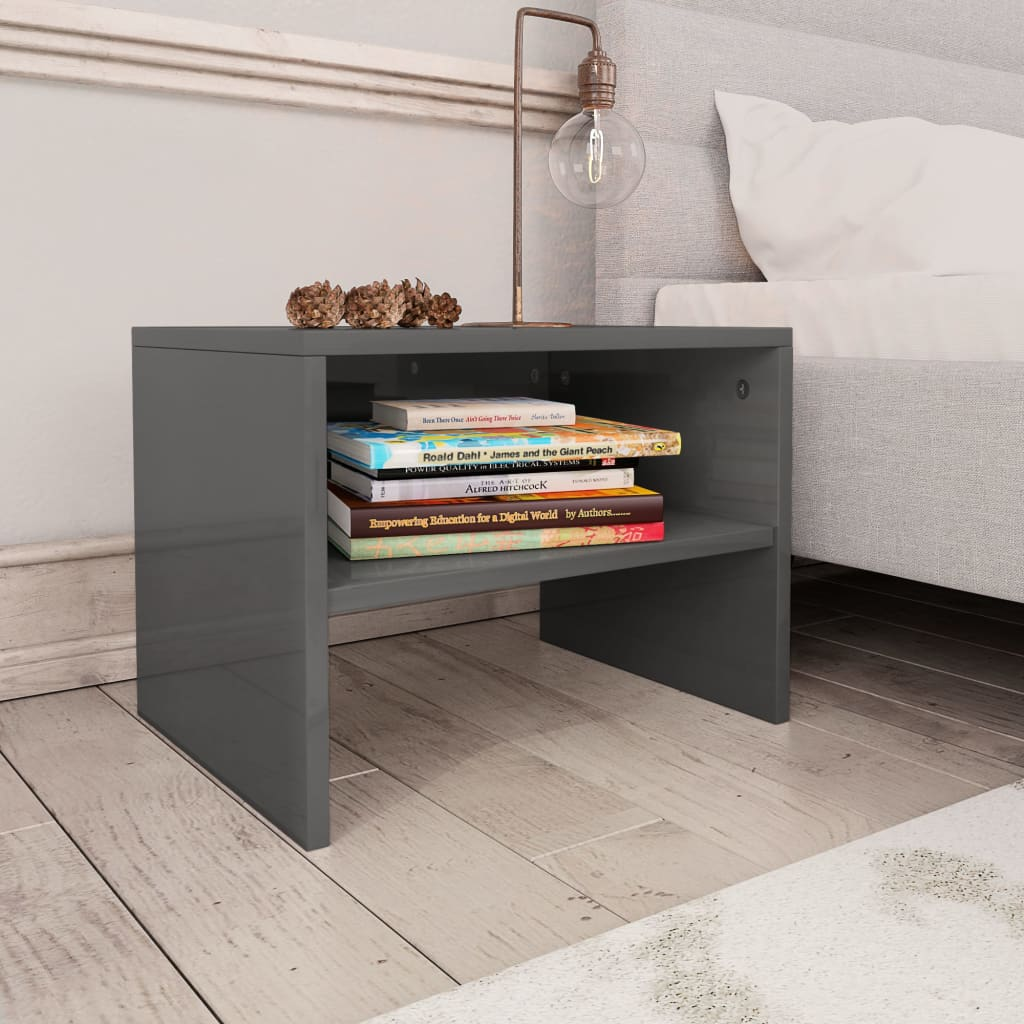 Bedside Cabinet High Gloss Grey 40x30x30 cm Chipboard 1