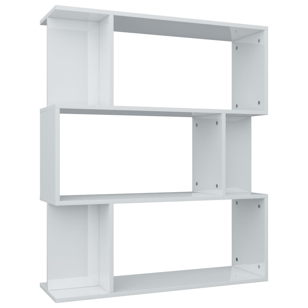 Book Cabinet/Room Divider High Gloss White 80x24x96 cm Chipboard 2