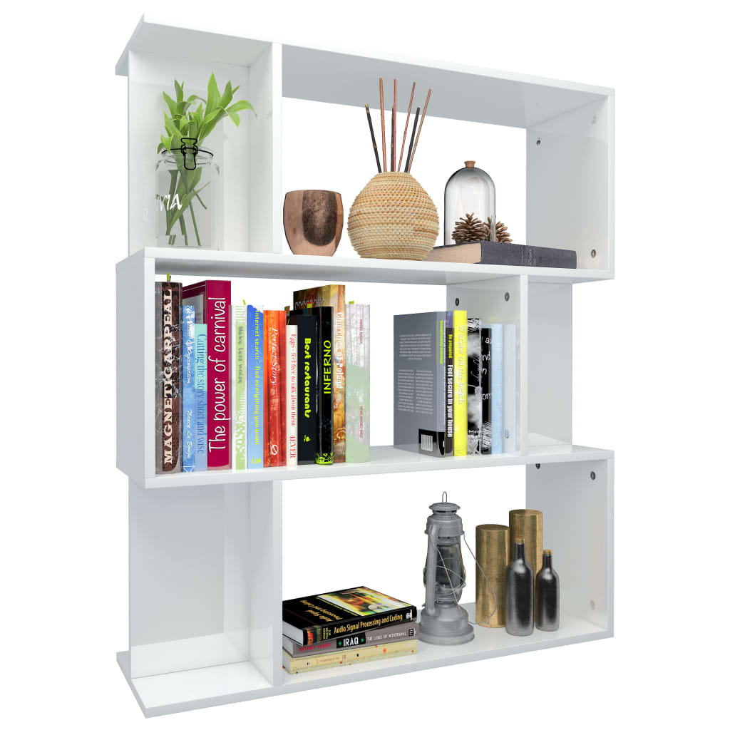 Book Cabinet/Room Divider High Gloss White 80x24x96 cm Chipboard 3