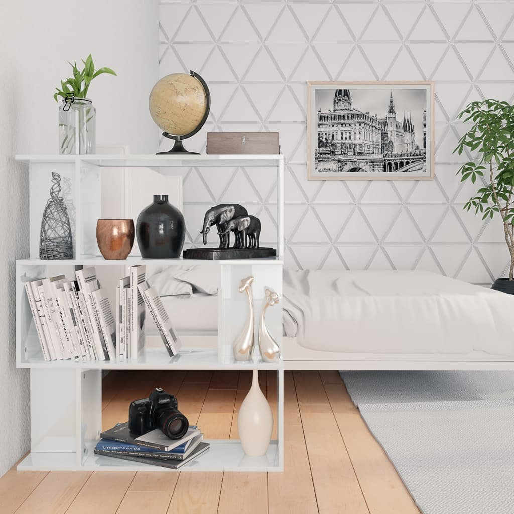 Book Cabinet/Room Divider High Gloss White 80x24x96 cm Chipboard 4
