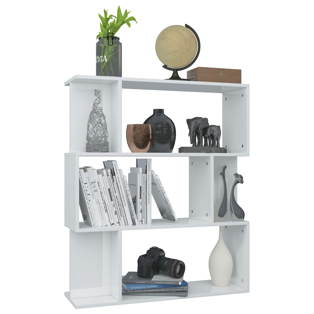 Book Cabinet/Room Divider High Gloss White 80x24x96 cm Chipboard 5