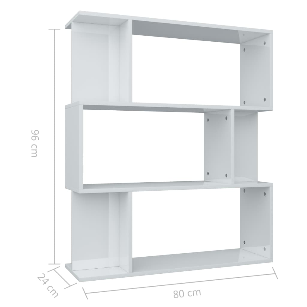 Book Cabinet/Room Divider High Gloss White 80x24x96 cm Chipboard 8