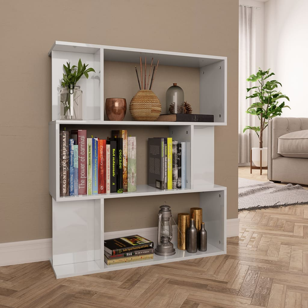 Book Cabinet/Room Divider High Gloss White 80x24x96 cm Chipboard 1