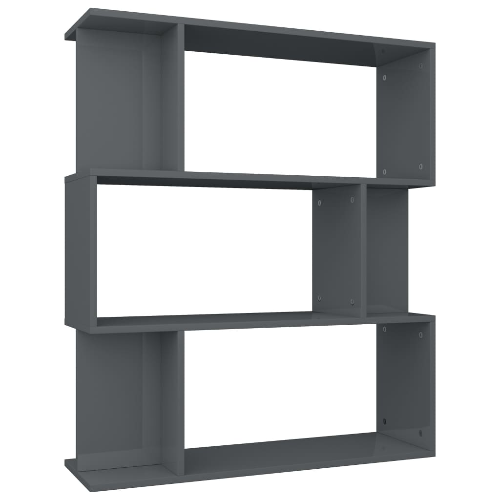 Book Cabinet/Room Divider High Gloss Grey 80x24x96 cm Chipboard 2