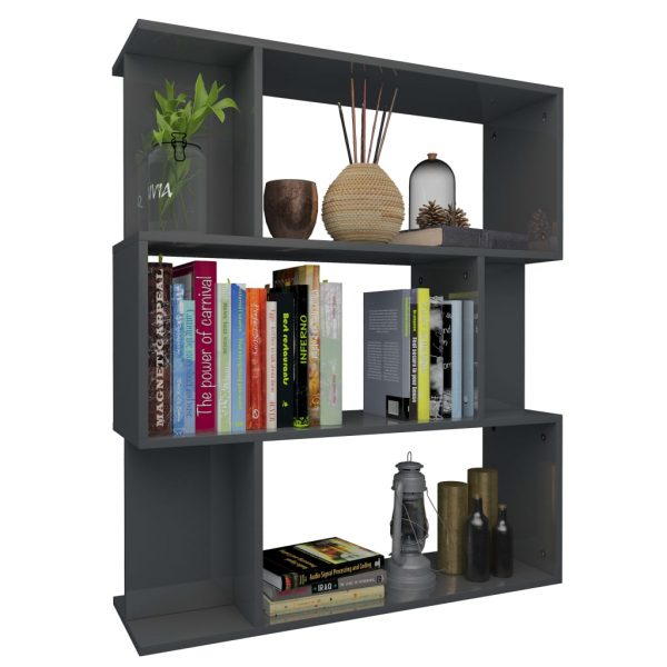 Book Cabinet/Room Divider High Gloss Grey 80x24x96 cm Chipboard 3