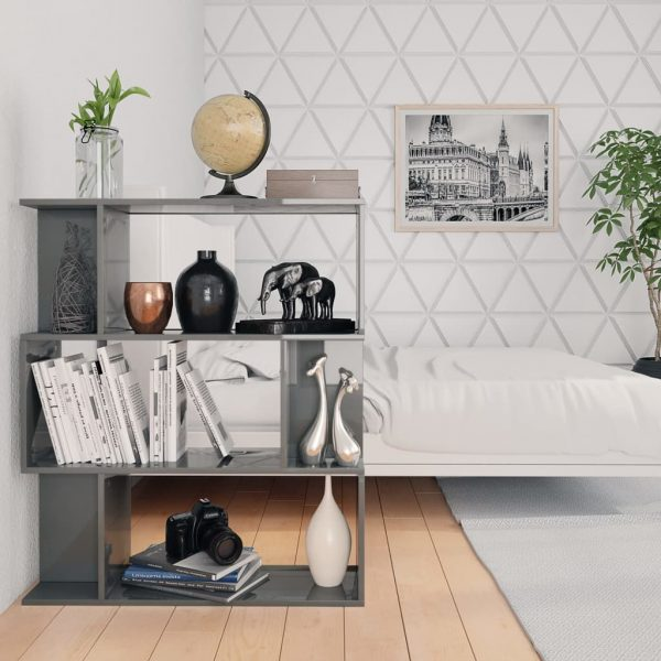 Book Cabinet/Room Divider High Gloss Grey 80x24x96 cm Chipboard 4