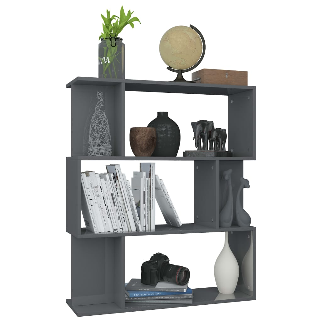 Book Cabinet/Room Divider High Gloss Grey 80x24x96 cm Chipboard 5