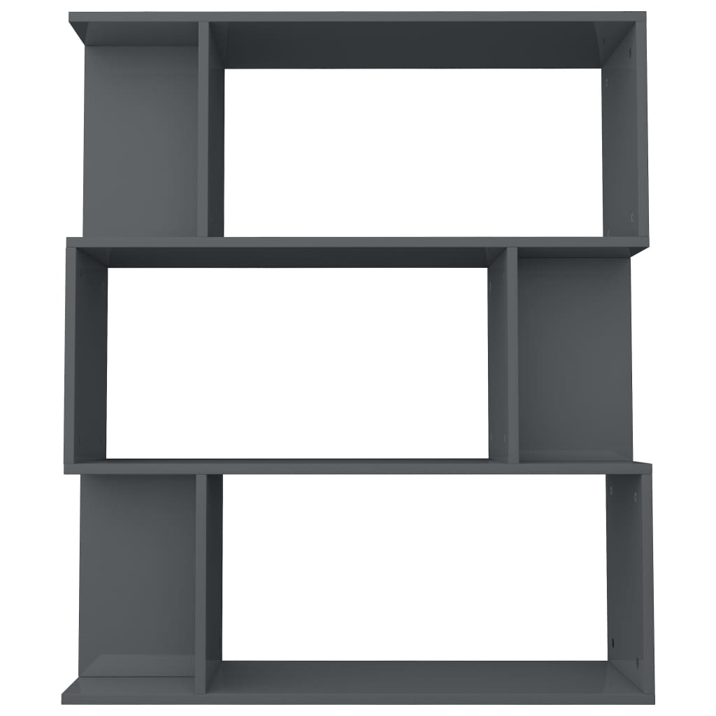 Book Cabinet/Room Divider High Gloss Grey 80x24x96 cm Chipboard 6