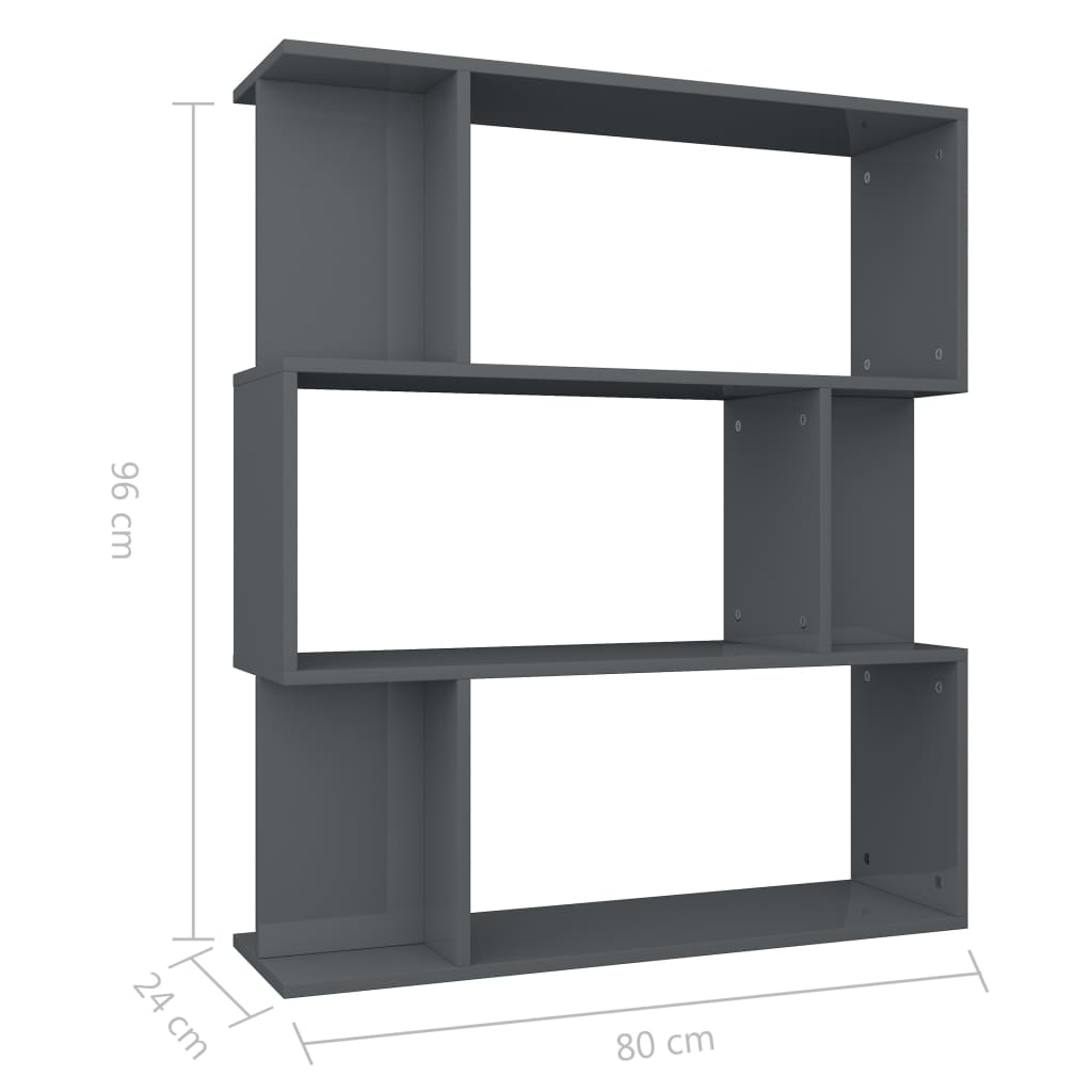 Book Cabinet/Room Divider High Gloss Grey 80x24x96 cm Chipboard 8