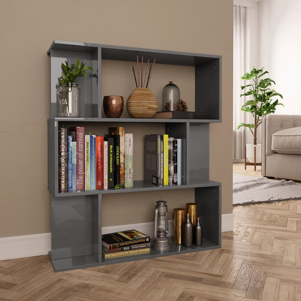 Book Cabinet/Room Divider High Gloss Grey 80x24x96 cm Chipboard 1
